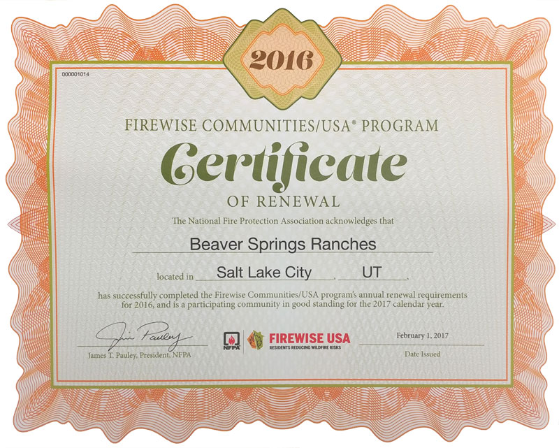 2016 Firewise Certificate